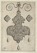 Design for the Verso of a Pendant with Three Large Flowers