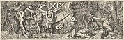 Plate 8: battle between soldiers on a boat and naked men trying to climb in, a river god at right