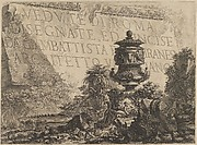 Title-page for the 'Vedute di Roma' comprising a stone in the background inscribed with the title, a classical vase and fragments of columns in the foreground
