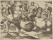 Venus in her dove-drawn chariot complaining to Jupiter who is accompanied by Mercury, from 'The Fable of Psyche'