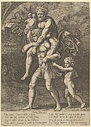 Aeneas carrying Anchises on his shoulders while Troy burns in the background