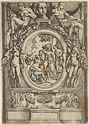 The Judgment of Paris; man seated at left reaches out to a woman who is flanked by two others, set within an elaborate frame