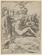 The Entombment; Christ with legs outstretched, the Virgin at right