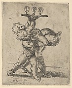 Two naked boys carrying a third who supports a tray with three goblets, after Reni