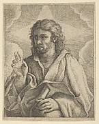 Christ holding a globe, looking to the left and making the sign of blessing with his right hand, clouds behind him, after Reni (?)