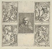 Five numbered scenes, each after a painter in the Accademia Degl'Incamminati, from IL FUNERALE D'AGOSTINO CARRACCIO FATTO IN BOLOGNA SUA PATRIA DAGL'INCAMINATI Academici del Disegno: 1. Painting and Poetry mourning the death of Agostino Carracci, painted by Francesco Brizio; 2. Painting with a lyre and Apollo pointing to stars on Carracci's grave, design by Giacomo Cavedone; 3. The head of Christ, painted by Agostino Carracci; 4. Prometheus with a torch and Athena behind him, painted by Alessandro Albini; 5. Aurora abducting Cephalus, painted by Leonello Spada.