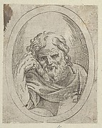 An apostle resting his head on his right hand and holding a book, in an oval frame, from Christ, the Virgin, and Thirteen Apostles