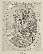 An apostle with a long beard looking down at an open book, in an oval frame, from Christ, the Virgin, and Thirteen Apostles