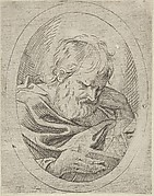 An apostle resting his head on his left hand and reading a book, in an oval frame, from Christ, the Virgin, and Thirteen Apostles