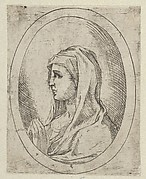 The Virgin in prayer, seen in profile facing left, in an oval frame, from Christ, the Virgin, and Thirteen Apostles