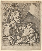 The Virgin seated, resting her head on her right hand and holding the sleeping infant Christ on her lap