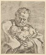 Saint Joseph holding the infant Christ, after Reni