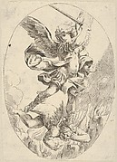 The winged archangel Saint Michael holding a sword and standing on the head of the devil, who descends into hell, an oval composition, after Reni