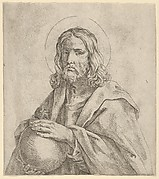 Christ seen in half-length, holding a globe surmounted by a cross, after Reni