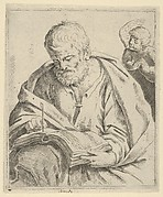 Old man seated and writing in a book, an angel at right looking over his shoulder, after Reni (?)