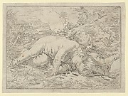 Two putti sleeping in a landscape, after Reni