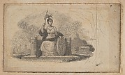 Banknote vignette with female figure representing America