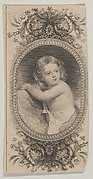 Banknote motif: a child's portrait and two patterned ovals surrounded by a floral frame