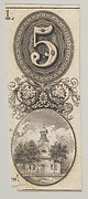 Banknote motifs: the number 5 and a building topped with a cupola