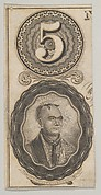 Banknote motifs: the number 5 and a portrait of Thayendanegea