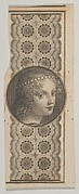 Banknote motif with a girl's head derived from Leonardo da Vinci against a patterned band