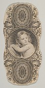 Banknote motif: a child's portrait surrounded by a floral frame