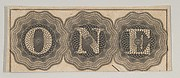 Banknote motif: the word ONE with each letter set against a circle of lathe work