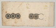 Banknote motif: two bands of ornamental lathe work resembling florets and hexagons