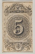 Banknote motif: the number 5 set against a scallop-edged circle of ornamental lathe work, within a rectangle with cut off corners, the top adorned with a vase and swans, the bottom with fruit and grain