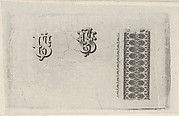 Banknote motifs: band of lathe work ornament and two monograms using the letters U.S.