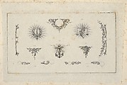 Banknote motif: ten different ornamental lathe work elements including a disk embellished with berries and flowers, a wreathed sword, a set of scales, a berried vine, an anchor and chain, a bracket of vine leaves and four designs for borders