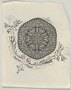 Banknote motif: hexagonal ornament with rippled edges with a pointed star at its center and flowers and leaves below
