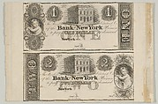 Proofs of Bank of New York One Dollar Bill and Two Dollar Bill