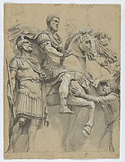 Marcus Aurelius on Horseback (recto); Study of an Antique Vase (verso)