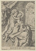 The Virgin seated with the Christ Child on her lap embracing her, St Joseph seen through an archway at right, after Reni