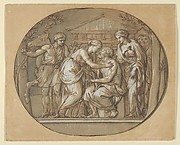 Oedipus before the Temple of the Furies between his Daughters Antigone and Ismene