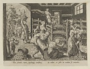 The Gathering of Mulberry Leaves and the Feeding of the Silkworms, Plate 5 from