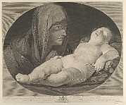 The Virgin in prayer, looking at the sleeping infant Christ, in an oval frame, after Reni