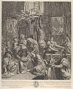 The birth of the Virgin; woman seated with an infant in her lap, numerous women surrounding her, angels above, after Reni