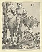 Man on Horseback holding a Falcon