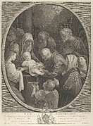 The Circumcision of Christ, a group of men and women surrounding him, an angel in the foreground, after Reni