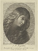 The head of Mary Magdalene looking down to the right, in an oval frame, after Reni