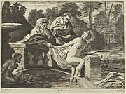 Susanna, partly naked and stepping out of a fountain with two elders at left, one of them pulling at her garment, after Reni