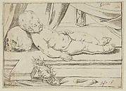 The infant Christ asleep on a cross, his head resting on a skull, a crown of thorns and nails in the foreground, after Reni