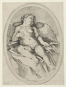 Cupid asleep, resting his right arm on his quiver and his left arm on his bow, an oval composition, after Reni