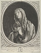 The Virgin in prayer looking up to the left, in an oval frame, after Reni