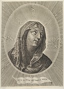 The head of the Virgin looking up to the right, in an oval frame, after Reni