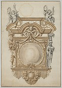 Design for an with an Epitaph with a Variant, flanked by Terms and surmounted by statues of Cherubs