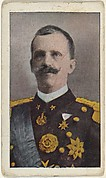 Card No. 14, King Victor Emanuel of Italy, from the World War I Scenes series (T121) issued by Sweet Caporal Cigarettes