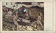 Card No. 47, The Very Latest Photograph Received in the United States from the Balkan-Turkish Seat of War, Showing Wounded Servians Being Removed from the Field After the Battle of Vronia, from the World War I Scenes series (T121) issued by Sweet Caporal Cigarettes